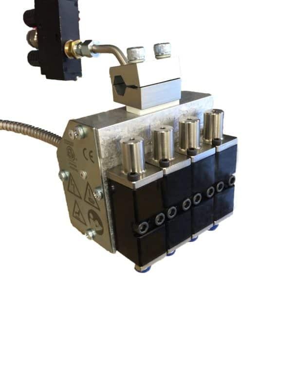 Applicateur colle chaude quatre modules double effet pour montage sur formeuse ou fermeuse de caisse carton