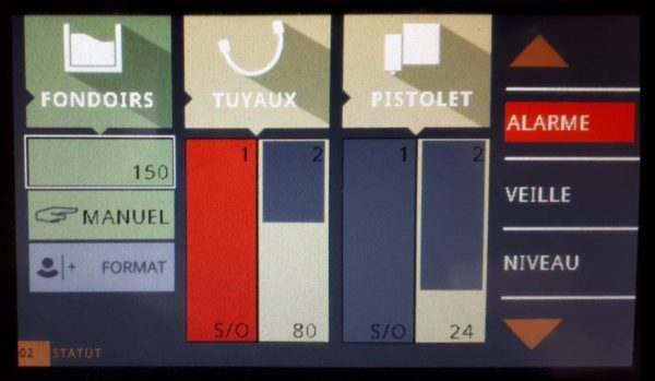 Avertissement visuel sur l'écran tactile du PerfectMelt SE