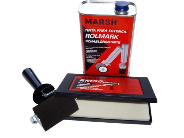 Kit marquage pochoir comprenant un rouleau mousse RM20 , un tampon encreur RM50 et 1 bidon d'encre noir ROLMARK